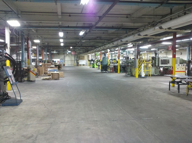 inside a large warehouse