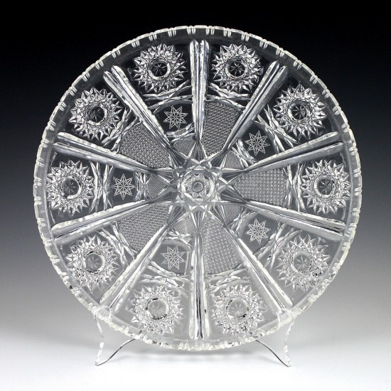 "11"" Crystalware Round Crystal Cut Tray"
