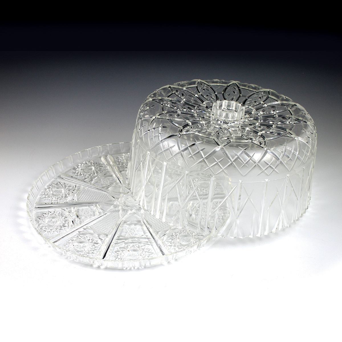 Crystalware Crystal Cut Cake Plate & Cover | Plastic Cups, Utensils ...