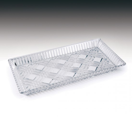"7"" x 13"" Crystalware Crystal Cut Rectangular Tray"