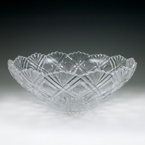 "12 7/8"" x 5"" 4 qt. Crystalware Crystal Cut Bowl"