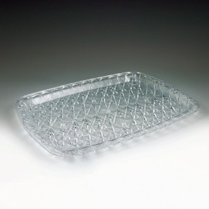 "10.75"" x 14.375"" Crystalware Crystal Cut Rectangular Tray"