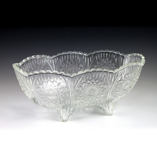 2.5 qt. Crystalware Oval Crystal Cut Footed Bowl