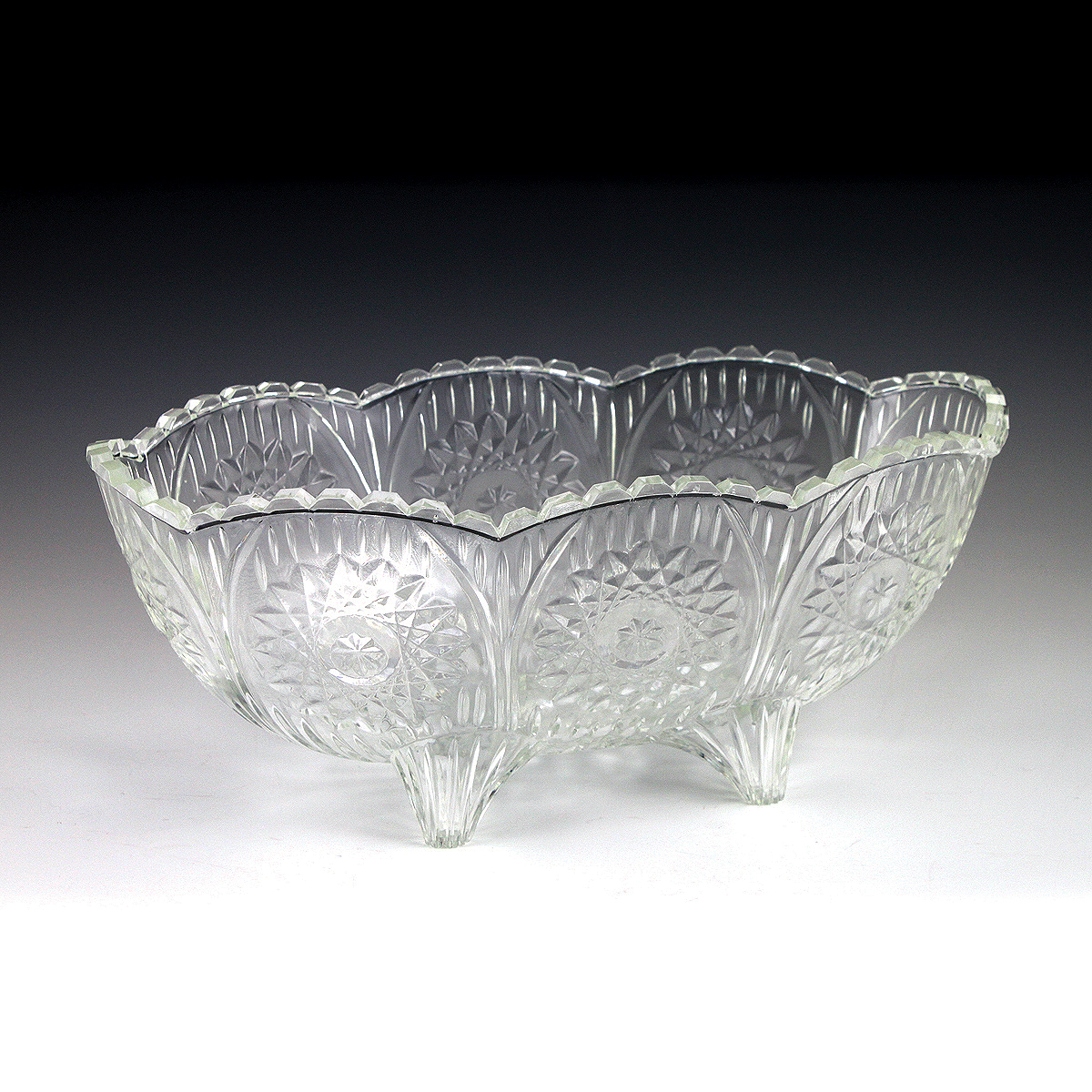 2 5 Qt Crystalware Oval Crystal Cut Footed Bowl Plastic
