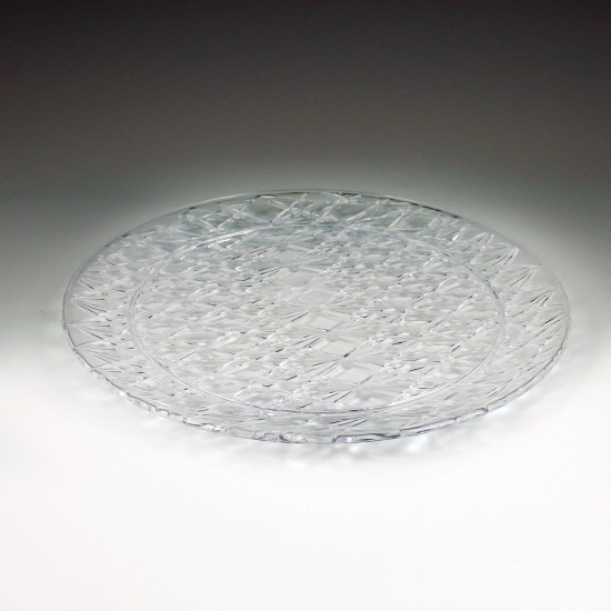 "13"" Crystalware Crystal Cut Round Tray"