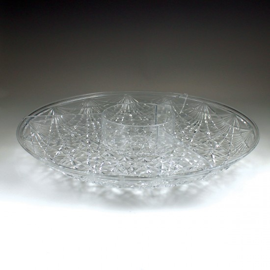 "15"" Crystalware Crystal Cut Round Sectional Tray"