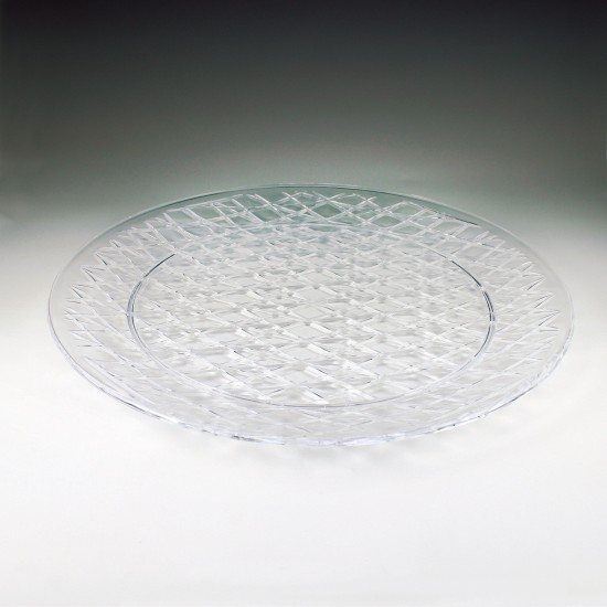 "16"" Crystalware Crystal Cut Round Tray"